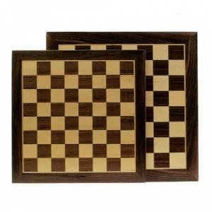 Ajedrez y damas - Tablero ajedrez marquetería 35X35 cm